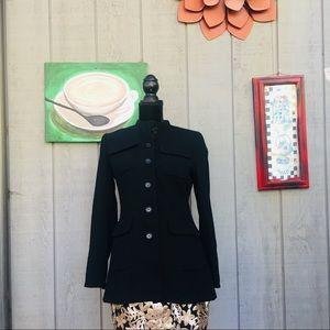 Ellen Tracy Wool Black Button Front Coat Size 4